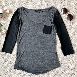 Zara leather sleeve top